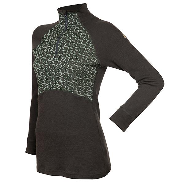 Janus Design Wool Dame ulltrøye m/zipp (mørk grønn)