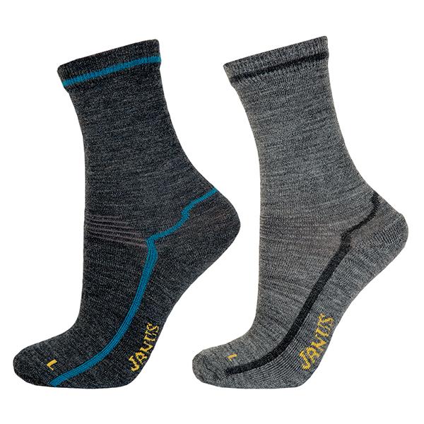 Janus Designwool Junior Sokker ullfrotté 2-pack (blå/grå)