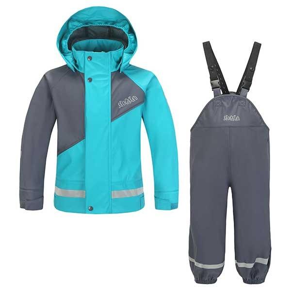 Ona - PU Regnsett til barn - grå / turkis