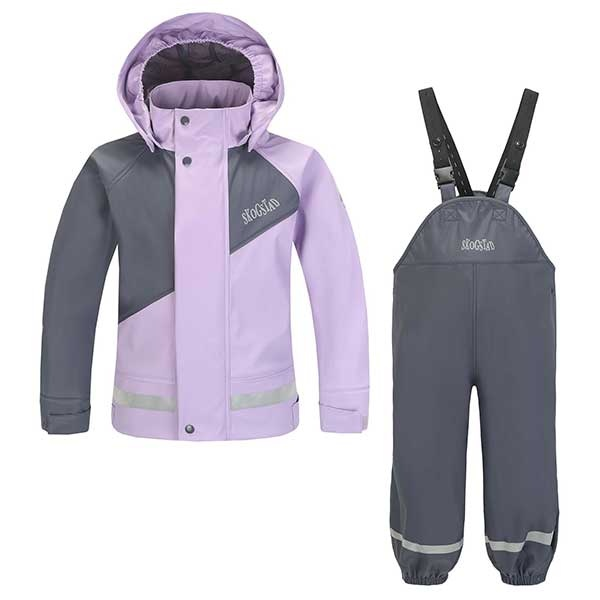 Ona - PU Regnsett til barn - grå / lavendel