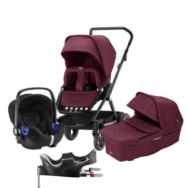 Britax Go Next² 3i1 inkl Base - Wine Red Melange/Black