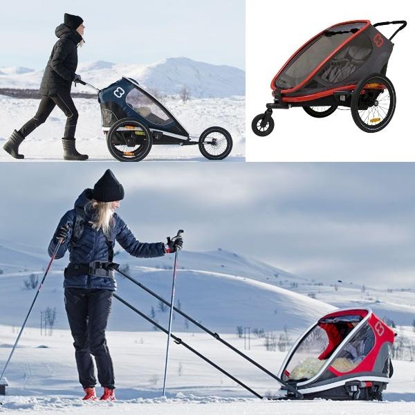 Hamax Outback m/2 plasser, m/ski- og joggekit inkludert - Red/Charcoal