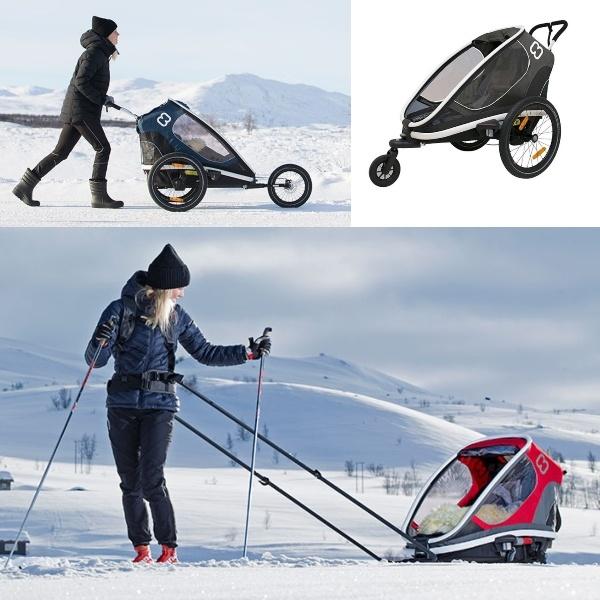 Hamax Outback One, m/ski- og joggekit inkludert - Grey