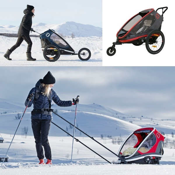 Hamax Outback One, m/ski- jogggekit inkludert - Red/Charcoal