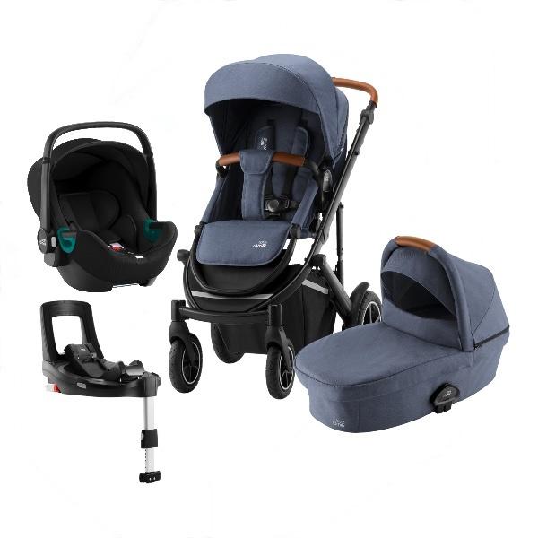 Britax Smile 3 Travelsystem, Duovogn m/Baby-Safe 3 i-Size +Base - Indigo Blue
