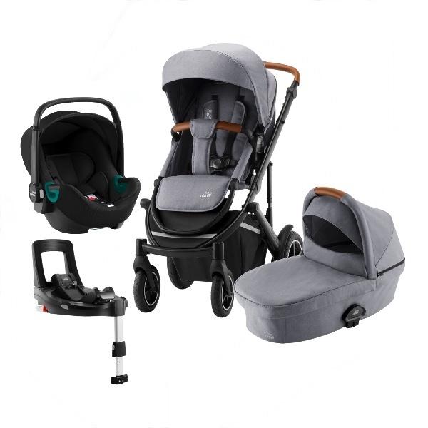 Britax Smile 3 Travelsystem, Duovogn m/Baby-Safe 3 i-Size +Base - Frost Grey/Brown