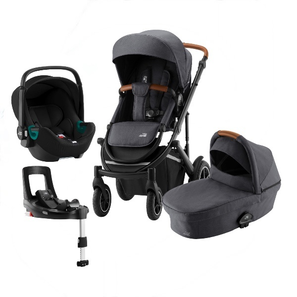 Britax Smile 3 Travelsystem, Duovogn m/Baby-Safe 3 i-Size +Base - Midnight Grey