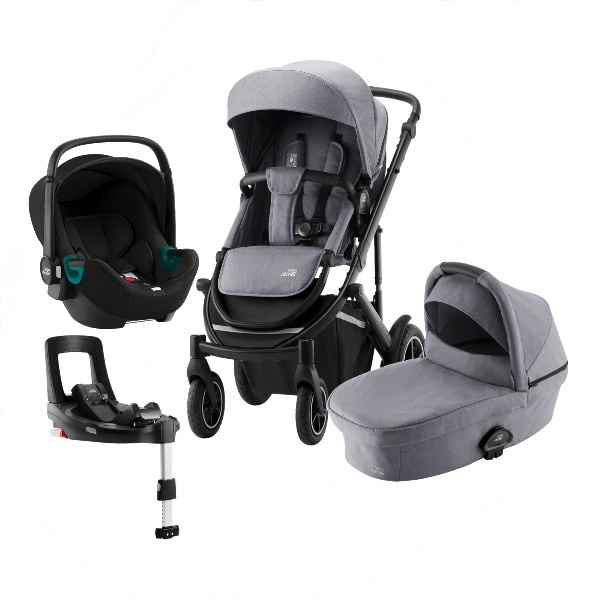 Britax Smile 3 Travelsystem, Duovogn m/Baby-Safe 3 i-Size +Base - Frost Grey/Black