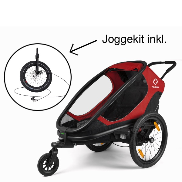 Hamax, Outback One, Multisportsvogn, Joggekit inkl. - Red/Black inkl GRATIS JOGGEHJUL