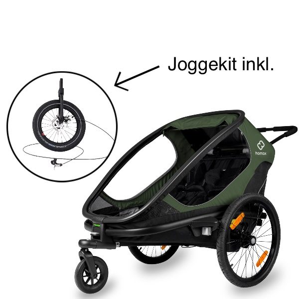 Hamax, Outback m/2 plasser, Multisportsvogn, Joggekit inkl. - Green/Black